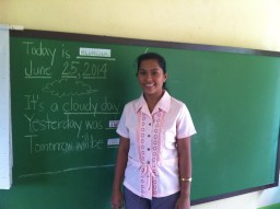 teacher bernadette and her new blackboard