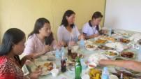 Enjoying lunch after graduation.