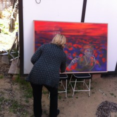 Artist Andrea Horwood puts the final touches on her latest work.