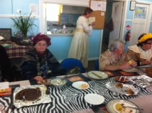 My Aunt Rosemary and friends dressed-up in their Botswana costumes.