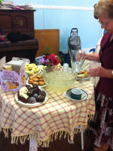 What is a CWA hall without a table full of cakes cooked with love, a punchbowl filled with home-made ginger beer and a piano.