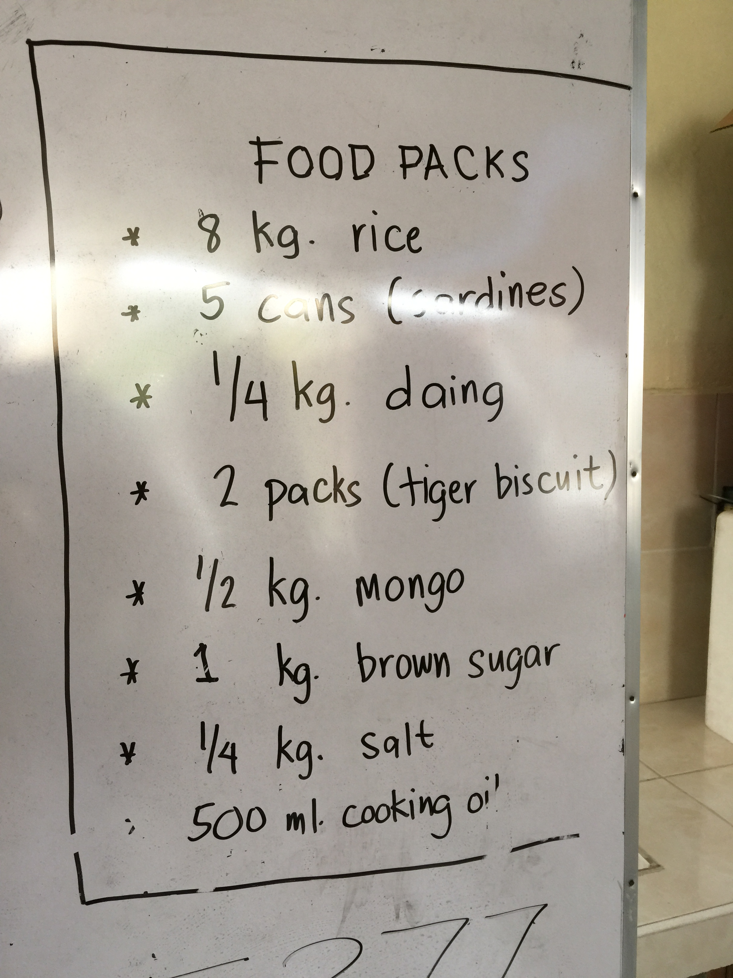 Contents of relief packs.