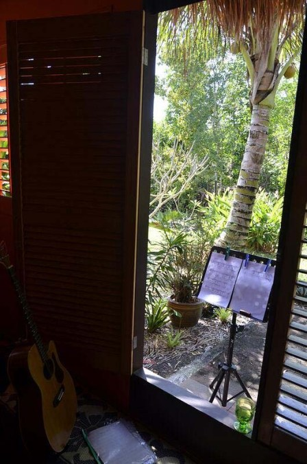 sharing my morning practice space with my favourite guitar (photo by my lovely friend june perkins) ... 8 november 2013 (yolanda)