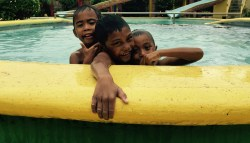 boys at the swimming pool