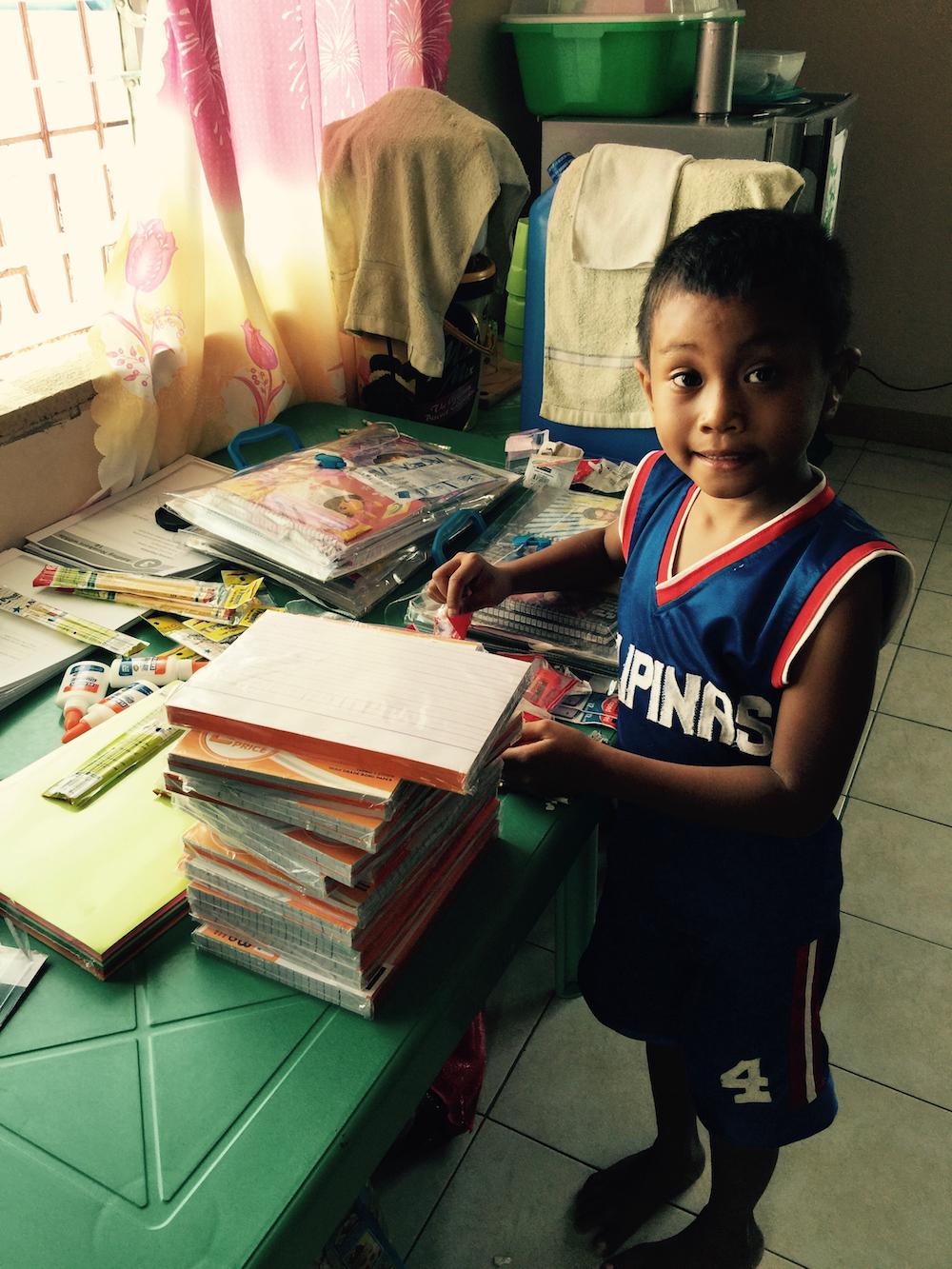 jerry helps me prepare the school packs