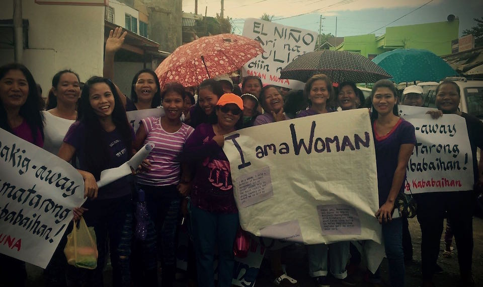 marching through the streets of Estancia shouting I AM A WOMAN .. BABAE AKO