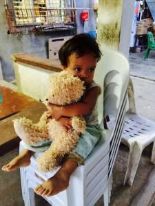 bata jyn with his new teddy bear