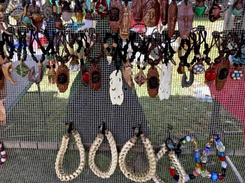 snake bone bracelets at a market stall