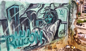 street art mural of a homeless girl Philippines