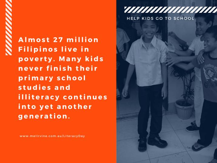 Help Filipino kids with Melinda J. Irvine on World Literacy day 2017.2