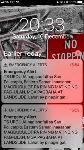 emergency alert Tropical Cyclone URDUJA