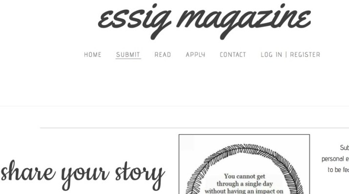 get paid to write your personal story for Essig mag