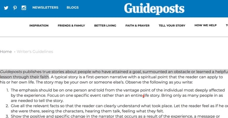 get paid to write your personal story for Guideposts