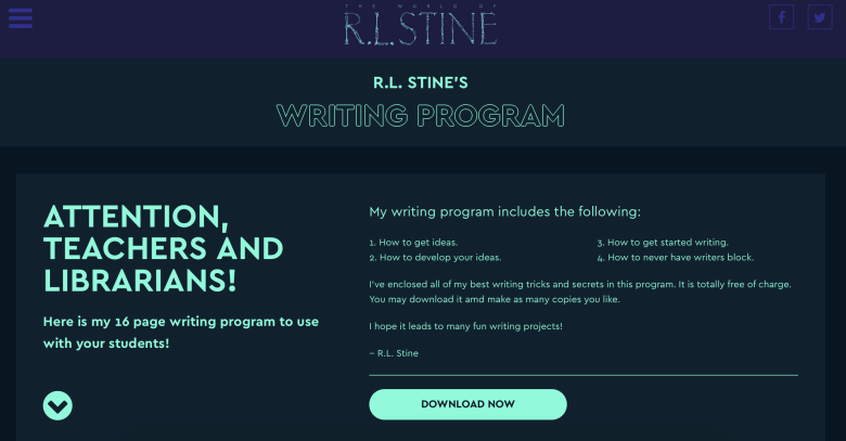 r.l.stine writing program
