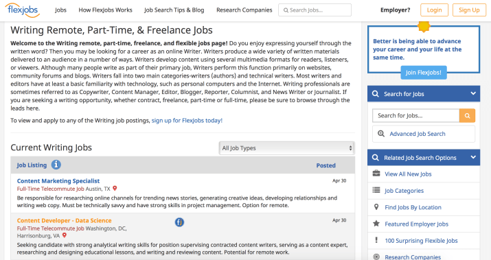 writing jobs on FlexJobs