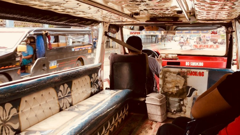 riding in a jeepney