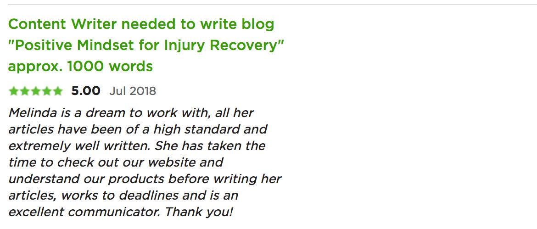 testimonial for melinda j. irvine injury recovery blog