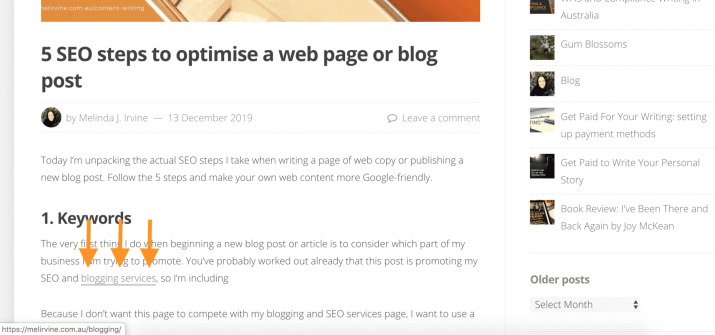 adding links to a blog post
