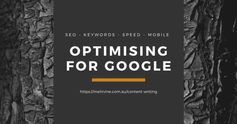 optimising for Google Melinda J. Irvine (1)