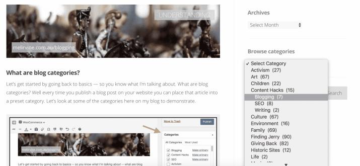 blog categories help readers find stuff