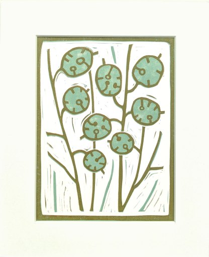 Lino print by Melissa Birch showing Honesty Plants in harmonising colours