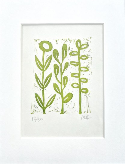 Small lino print by Melissa Birch, Green Stems in apple green on white