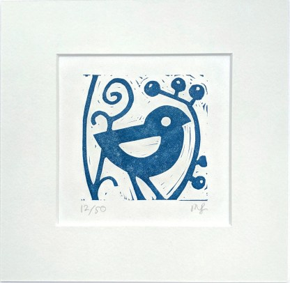 Small lino print by Melissa Birch showing Little Blue Bird's Friend in oxford blue on white