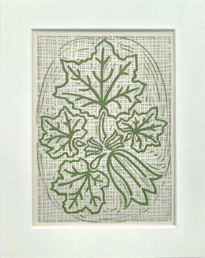 Lino print artwork by Melissa Birch showing Courgette Plant in natural green