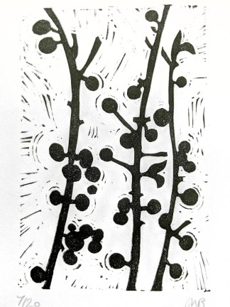 Monochrome lino print by Melissa Birch, Sloe berries on branches