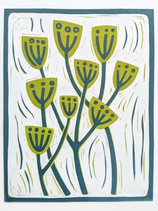 Floral lino print by artist Melissa Birch, depicting Wild Fennel in green and blue on white background