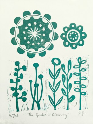 Abstract floral lino print by Melissa Birch, titled The Garden is Blooming
