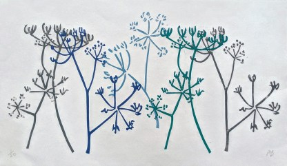 Lino Print of Hogweed Stems in blues and greys against a white background