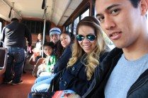 Riding the shuttle to view the Rose Parade floats :)
