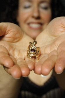 Melissa Caron holding the Serendipity Ring
