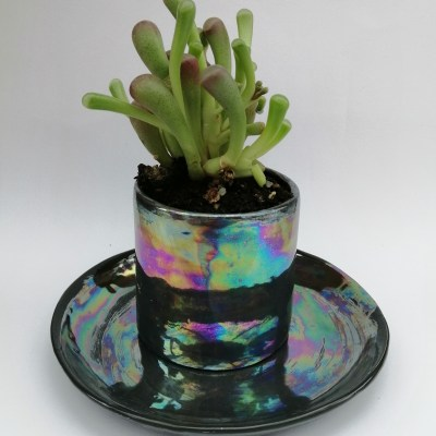 black ceramic plant pot
