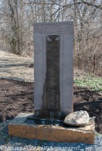 One of the water feature sculptures at Alden Farms