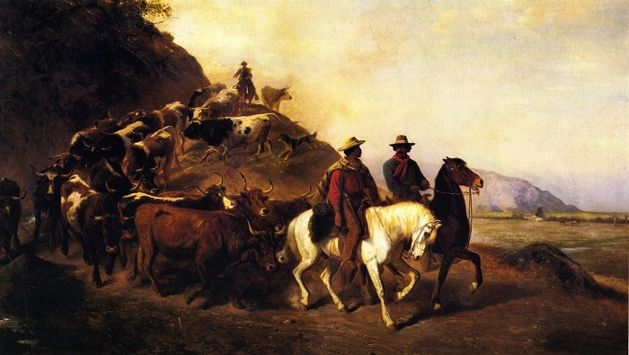 Mexican Cattle in Southern California by Artist William Hahn