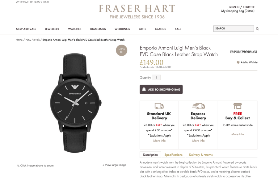 Fraser Hart Product Descriptions