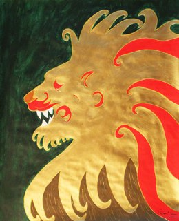 Paint & Metallic Lion- 18in x 24in
