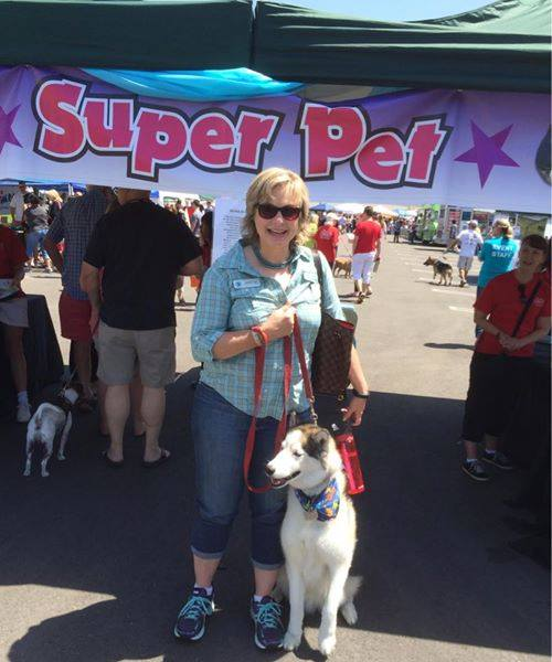 Irvine Community Services Commissioner Melissa Fox and Scout Fox at the Annual Super Pet Adoption Event in 2014.