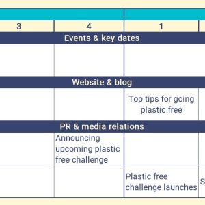 Preview of template communications calendar with different comms activities pencilled into different dates