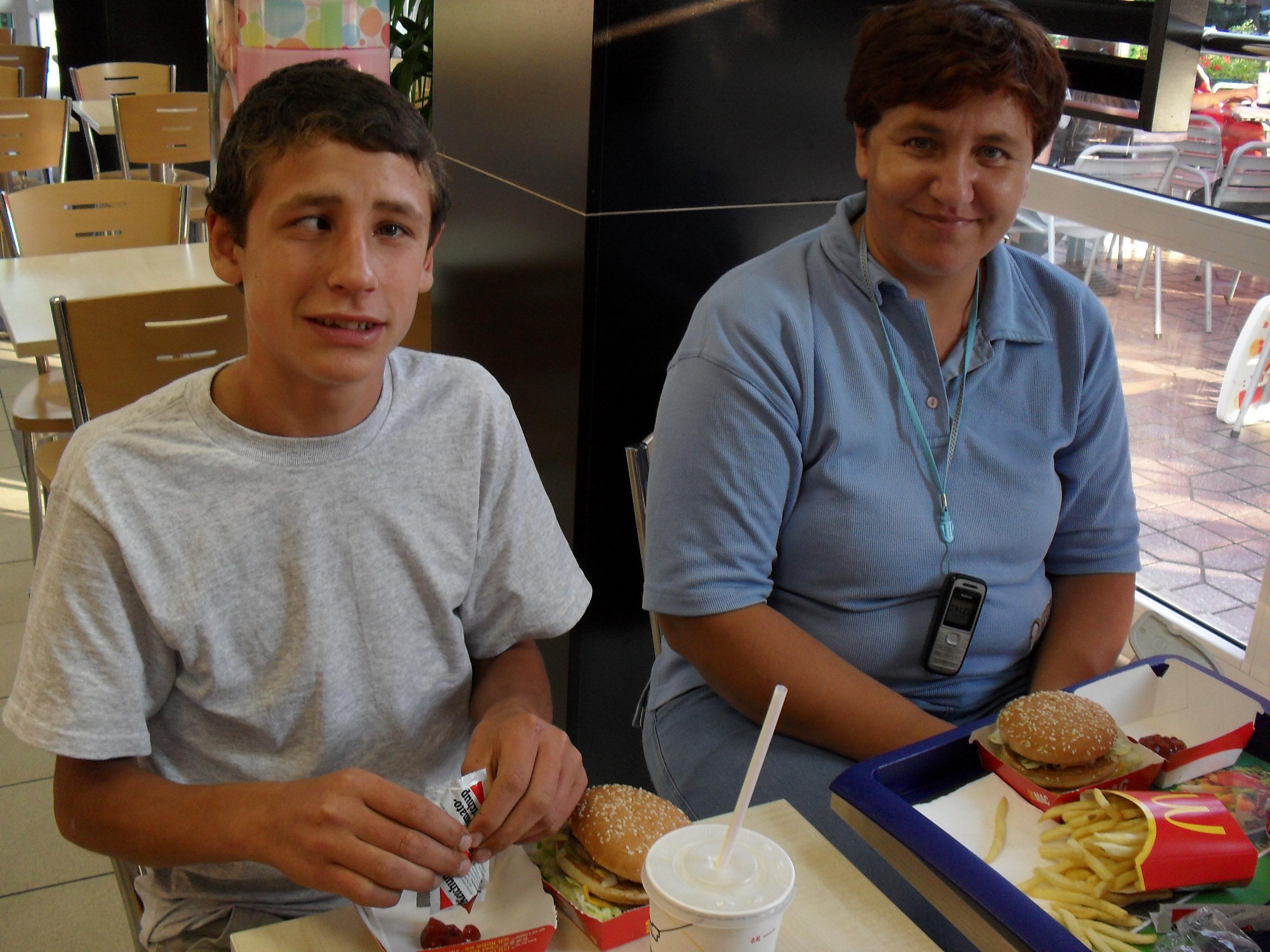 Enjoying a BigMac and fries!