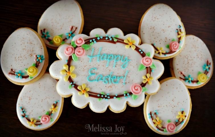 Vintage Easter Wreath & Egg Cookies