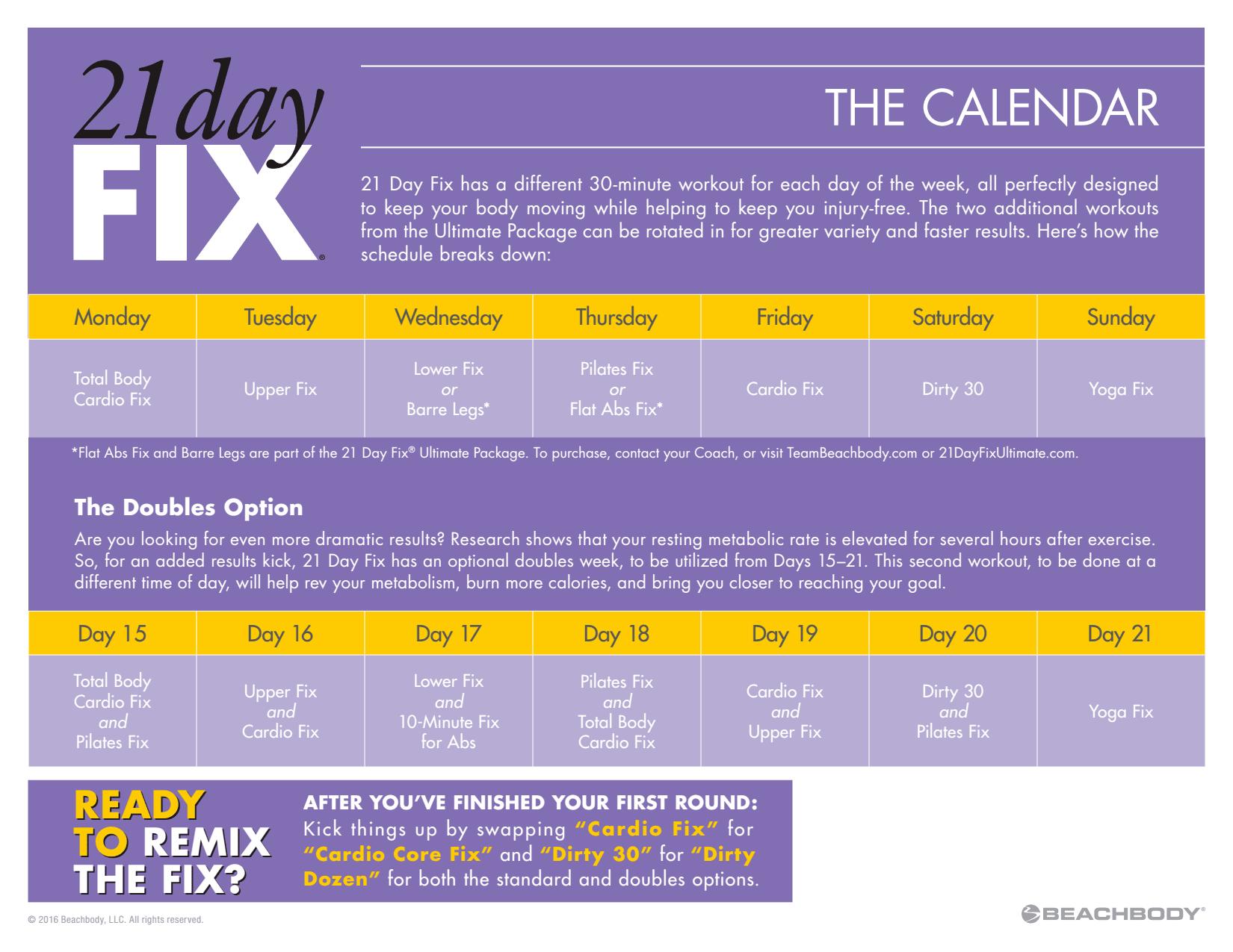 21 Day Fix Workout Schedule