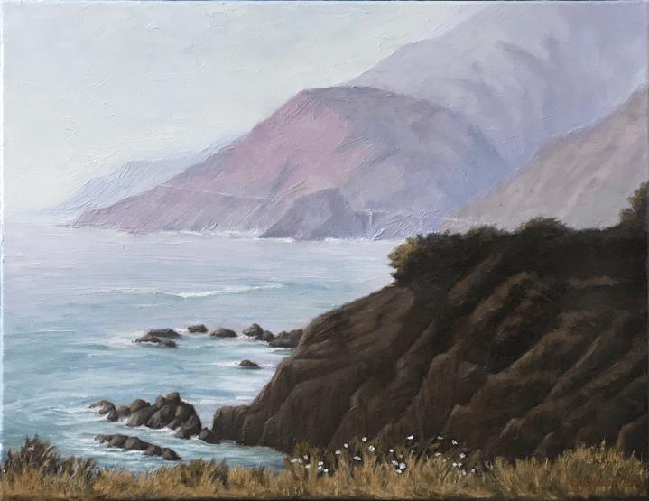 Big Sur California Coast Fog Seascape Oil Painting