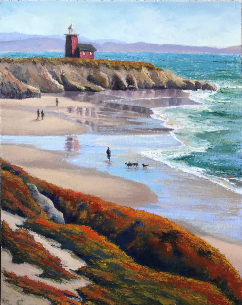 beach seascape lighthouse santa cruz waves oil painting