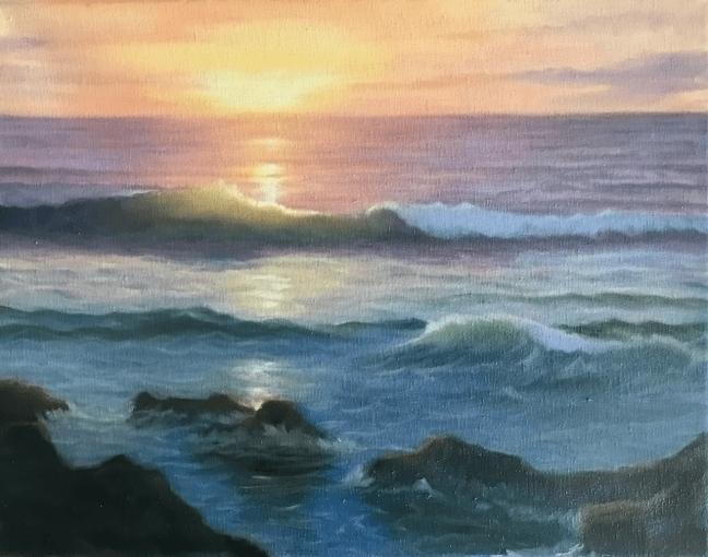 oil painting sunset ocean waves