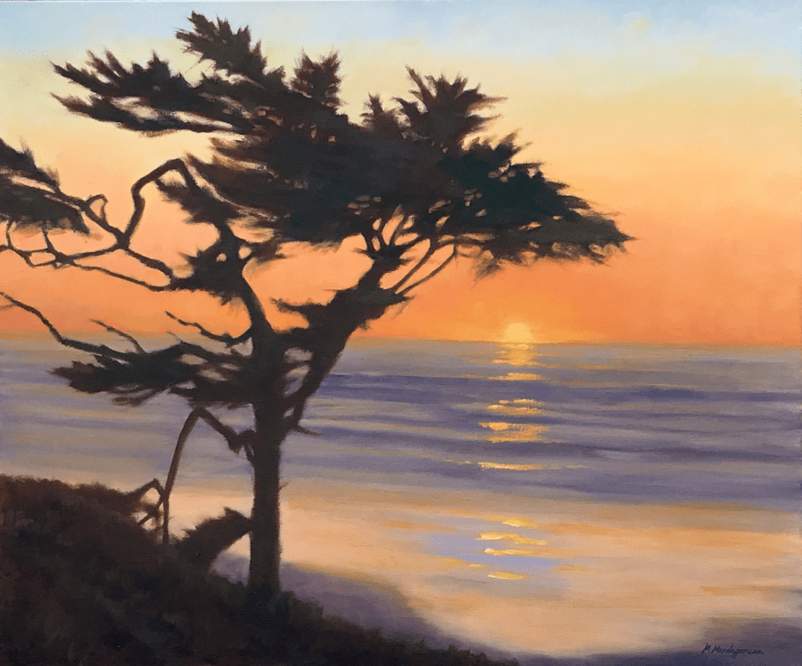 Oil painting Cypress tree silhouette in front of a California coastal sunset