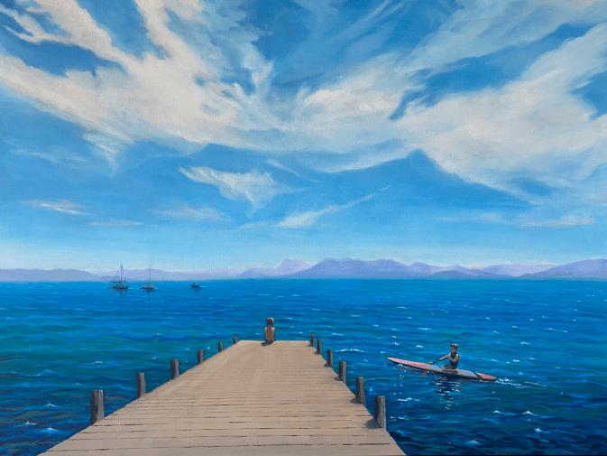 Lake Tahoe pier blue sky kayak