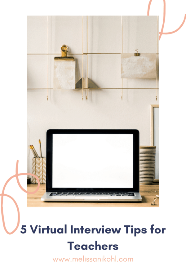 Virtual interviews for teachers may be a new experience for some, but they don't have to be any more stressful than your typical teacher interview if you're prepared. Check out the blog post and get your FREE Teacher Interview Cheat Sheet to get everything you need for your big day! #virtualinterview #teachervirtualinterview